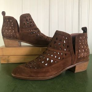 Cecelia NY Catherine Cut Out Boots in Chestnut